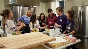 In the kitchen for a meal to benefit Team Midcoast Interact's trip to Safe Passage in Guatemala.